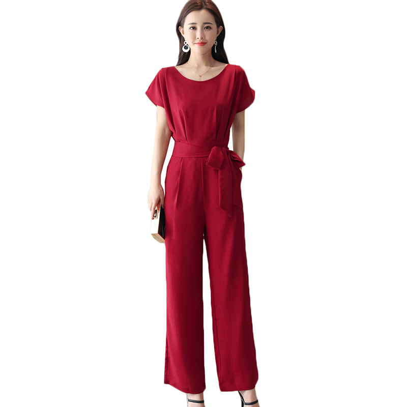 Wide Leg Jumpsuit Female 2018 Summer Elegant lady Suit high Waist Slim Chiffon Jumpsuits Casual Large Size Women Clothing AA240