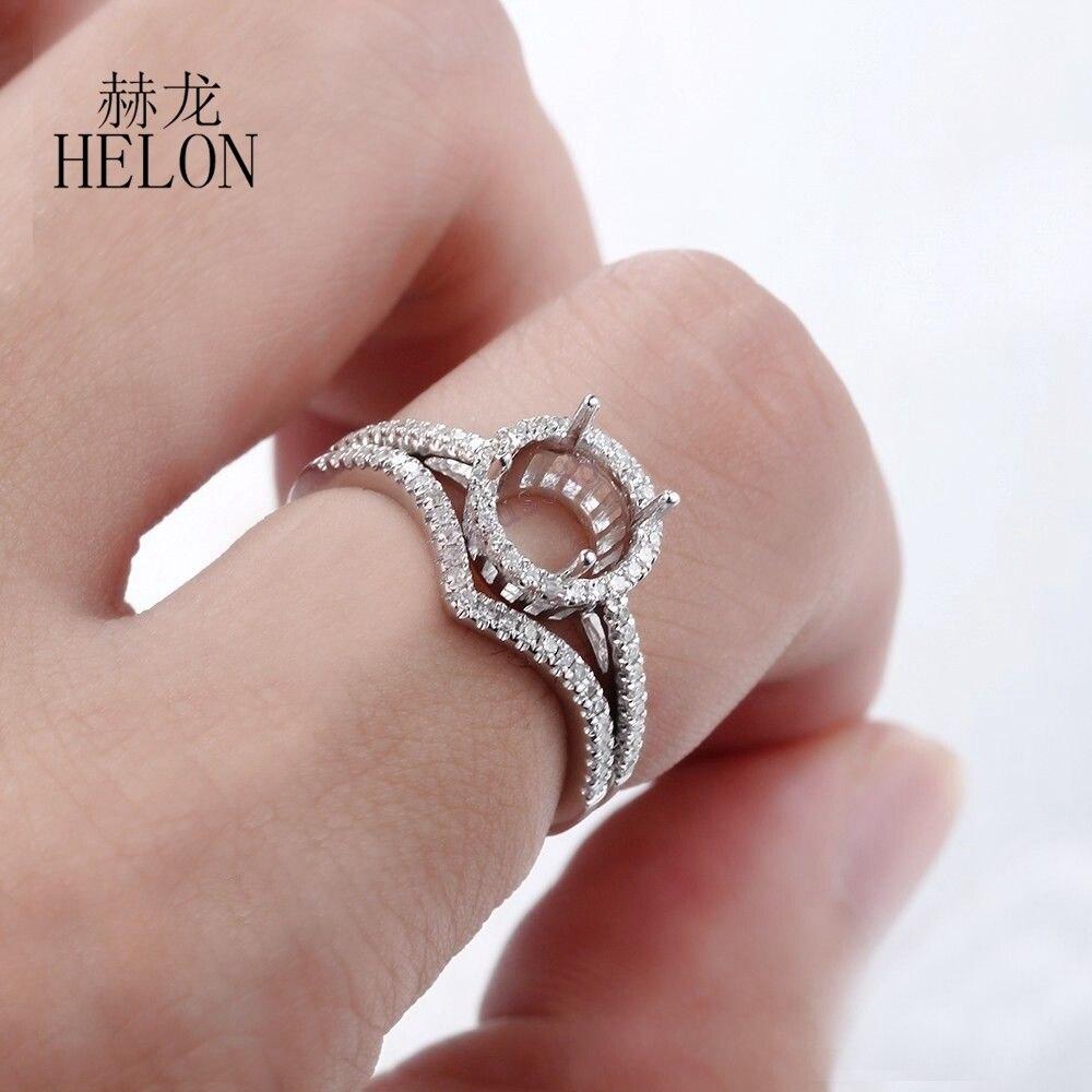 HELON 7mm Round Cut Semi Mount Fine Diamonds Ring Solid 14K White ...