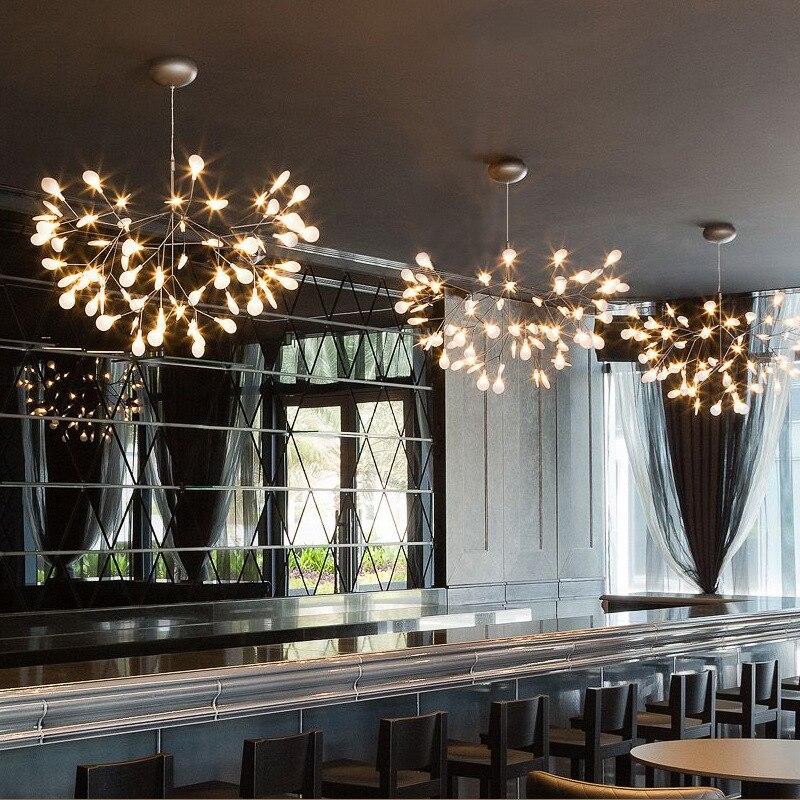 Średnica 72cm srebrne nowoczesne drzewo Heracleum wisiorek z listkiem światła lampy LED lampy wiszące sztuka do salonu Bar żelaza restauracja