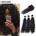 8A Peruvian Curly Hair With Closure Top Deep Curly With Closure Free Part Peruvian Deep Wave With Closure Virgin Hair Bundles