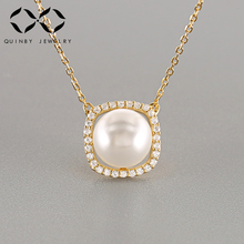 Simulated Pearl Choker Necklaces for Women Paved Cubic Zircon 925 Sterling Silver Chain Long Necklace Pendant Jewelry Kolye Z4 3 4mm long fresh water pearl necklace multi layers 925 sterling silver with cubic zircon flower party necklace fashion jewelry