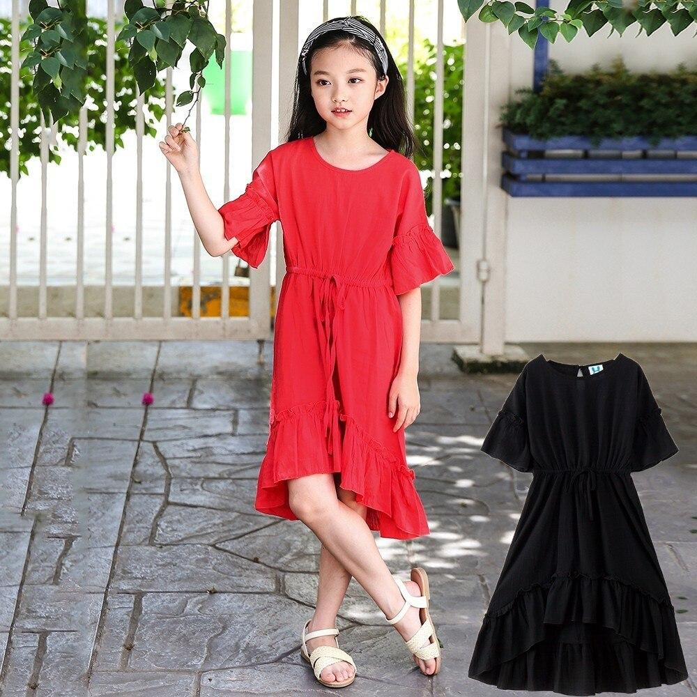 все цены на ruffles teen girl summer dresses children clothing 2018 new red black party mermaid long princess girls dress irregular dress