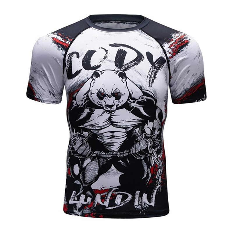 جديد 3d يطبع تي شيرت رجالي ضغط قميص طبقة قاعدة قصيرة الأكمام تجريب اللياقة البدنية MMA الجسم بناء قمم Rashguard T قميص