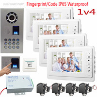 4 Units Electronic Video Door Phone 7 Color Monitor Fingerprint Outdoor Door Phone Call Panel IP65