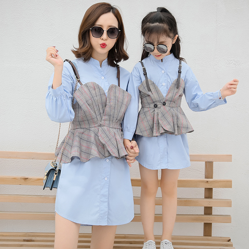 Family Matching Clothes Mother and Daughte Clothing Sets Baby Girl Dress Suit Fashion Strap Shirt+shirt Dress 2pcs Baby Clothes