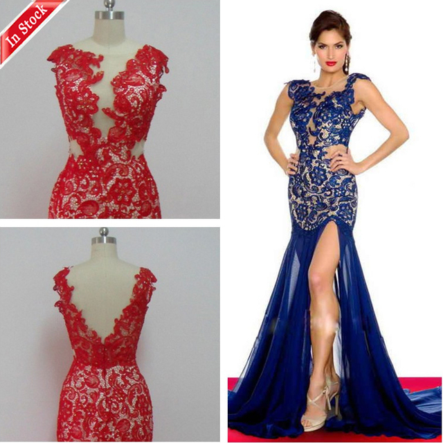 Blue red white black mermaid prom dresses with one shoulder ...