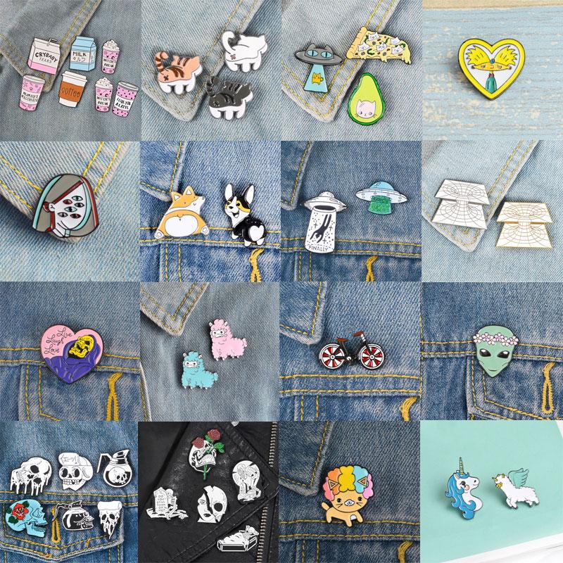 Badges Cartoon Metal Brooch Collar Pins Alloy Brooches Jeans Shirt Handbag Badges On Backpack