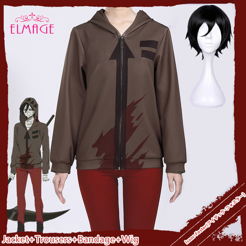 4pcs Angels of Death Costume Isaac Foster Zack Cosplay Sweatshirts Uniex Printing Zipper Jacket Hooded Sweater Coat+Trousers+wig