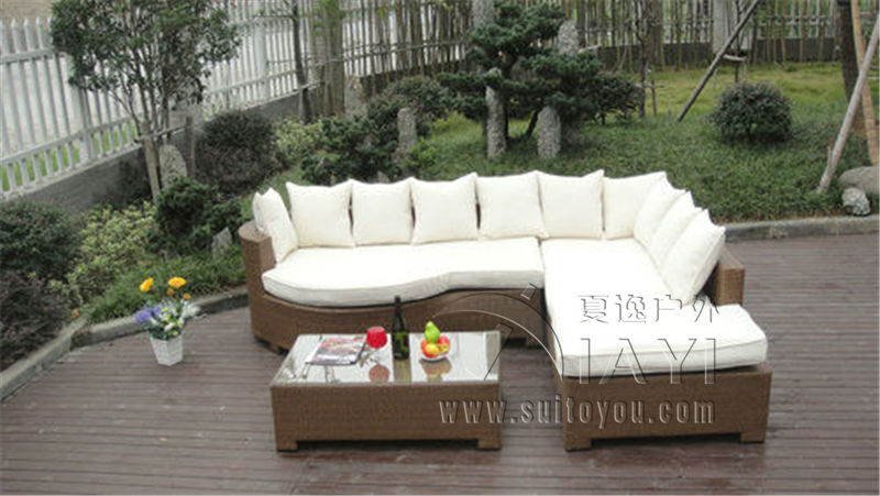 3-pcs Home Lounge Sofa With Pillow , Synthetic Rattan Sleeper Sofa Bed rectangle rattan sofa holiday outdoor rattan sofa bed terrace sun bed outdoor leisure patio balcony sofa bed chair with tent