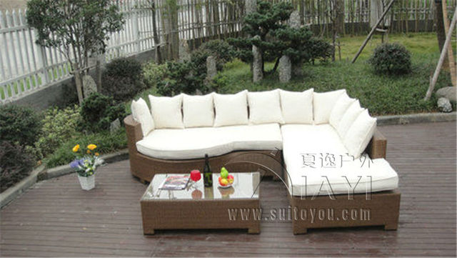 3 pcs Home Lounge Sofa With Pillow Synthetic Rattan Sleeper Sofa