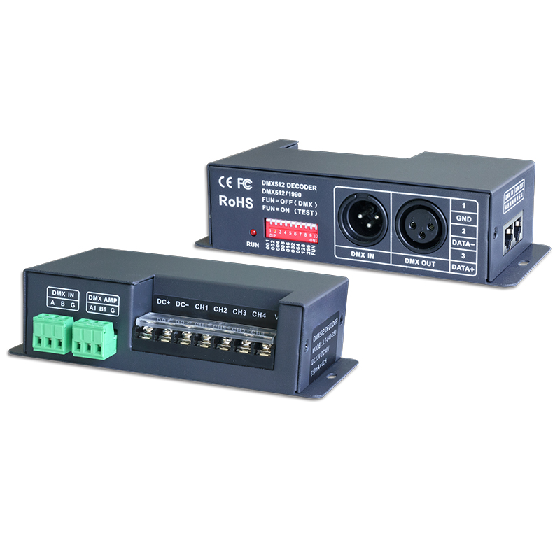 New LTECH Led DMX Decoder CC 4CH Constant Current DMX Decoder;DC12-48V input;350mA*4CH output 4 Channel LED CC DMX-PWM Decoder 4channel 4ch pwm constant current dmx512 rdm led decoder with digital display xlr3 rj45 port dc12v 48v input setting dmx address