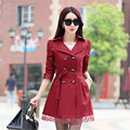 Trench coat with belt women spring autumn long coat large size women's clothing Double breasted fashion Lace Trench coat TT354