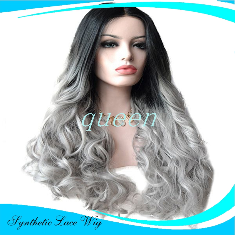 Ombre Wigs Silver Grey Bodywave Synthetic Lace Front Wig
