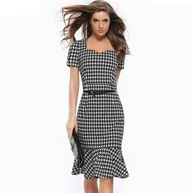 2018 Women Black Hounds Tooth Check Mermaid Dress Plus Size Summer