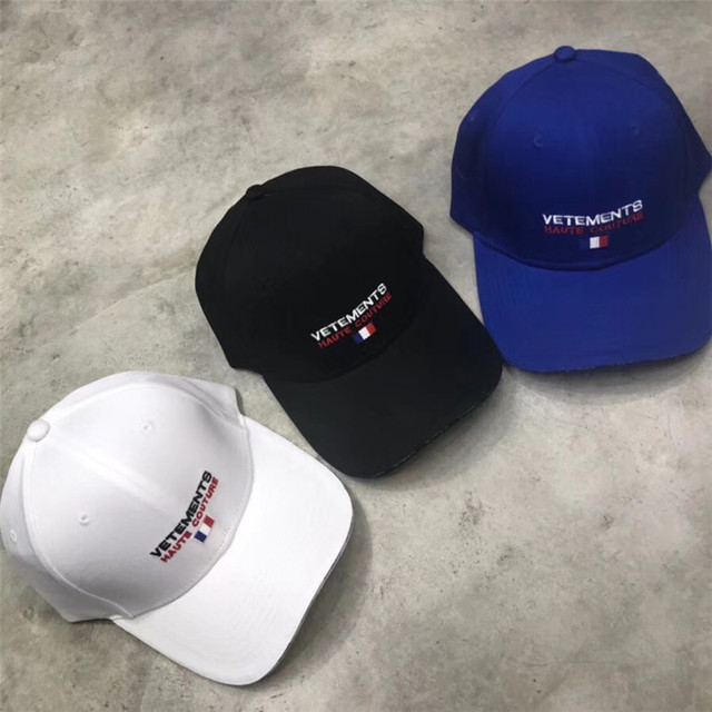 Vetements Women Men 1 1 High Quality Blue White Black Embroidery France  Flag Fashion Casual Vetements Cap 7deb9ad88a4