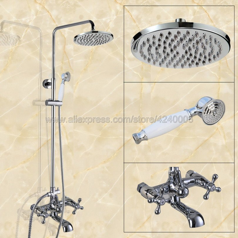 Polished Chrome 8 Rainfall Shower Faucet set Wall Mounted Swivel Tub Spout Hand Held Shower Hot /Cold Taps Kcy320