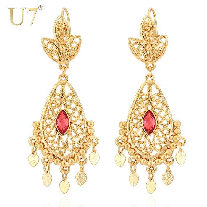 Aliexpress U7 Trendy Indian Earrings Size Style Jewelry Item For Women Whole Gold Color Red Crystal Drop E3029 From Reliable