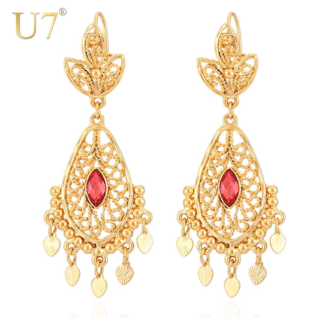 earrings chandelier gold indian