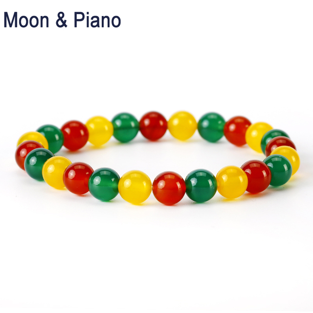 Us 9 11 8 Off Natural Three Color Chalcedony Bracelet Yellow Green Red Round Beads Sweet Bracelets Party Jewelry New In Bangles