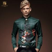 Free Shipping New Fashion Autumn Casual Personality Male Long Sleeved Green Mens Shirt Korean Slim Tide