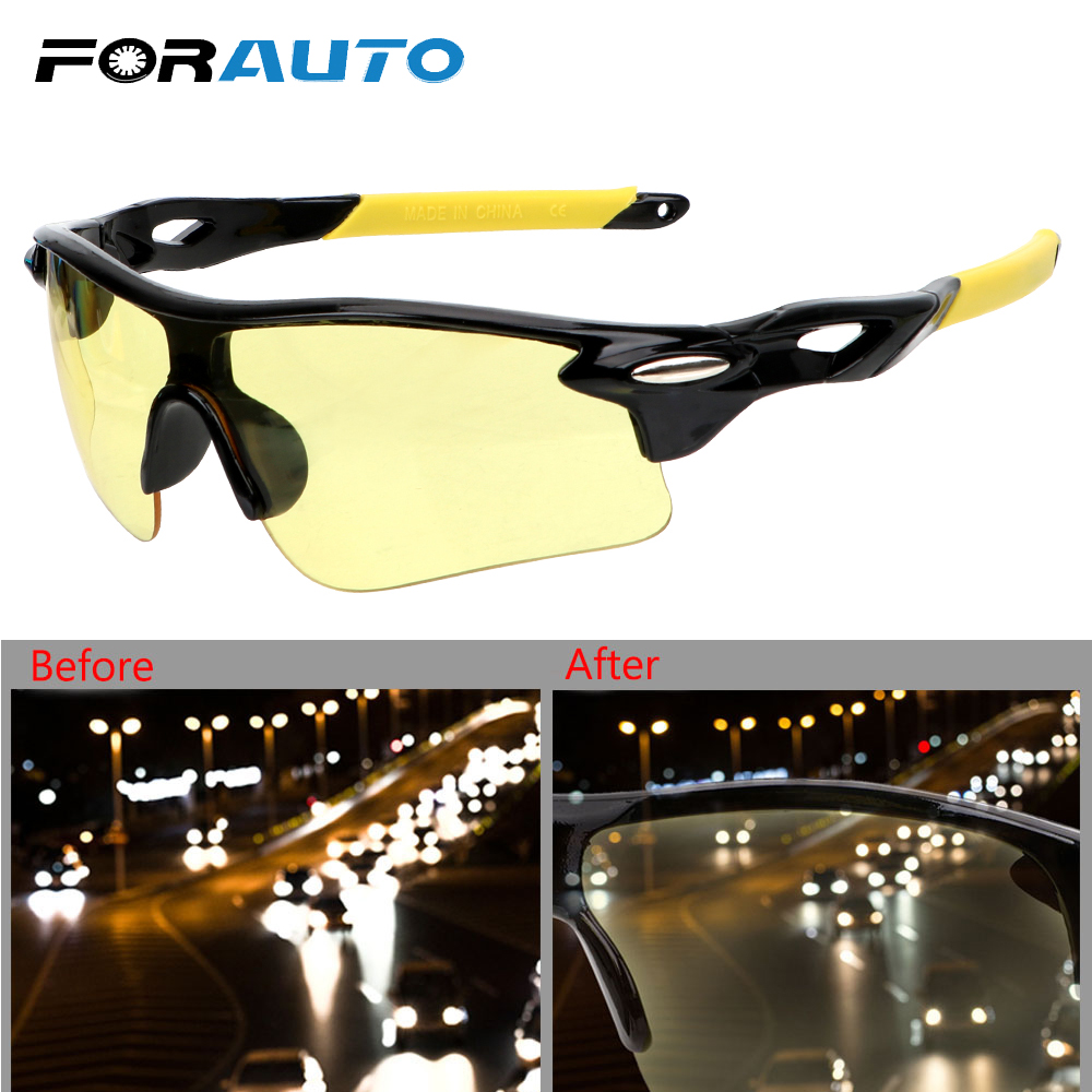 FORAUTO Anti-glare Car Night-Vision Glasses UV Protection Motocross Sunglasses Explosion-proof Night Vision Drivers Goggles