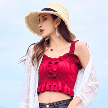 New Elegant Knitted Camis Ruffles Casual Sexy Summer Tops Crop Top Cropped Tank Off Shoulder For Women Girls Street Wear