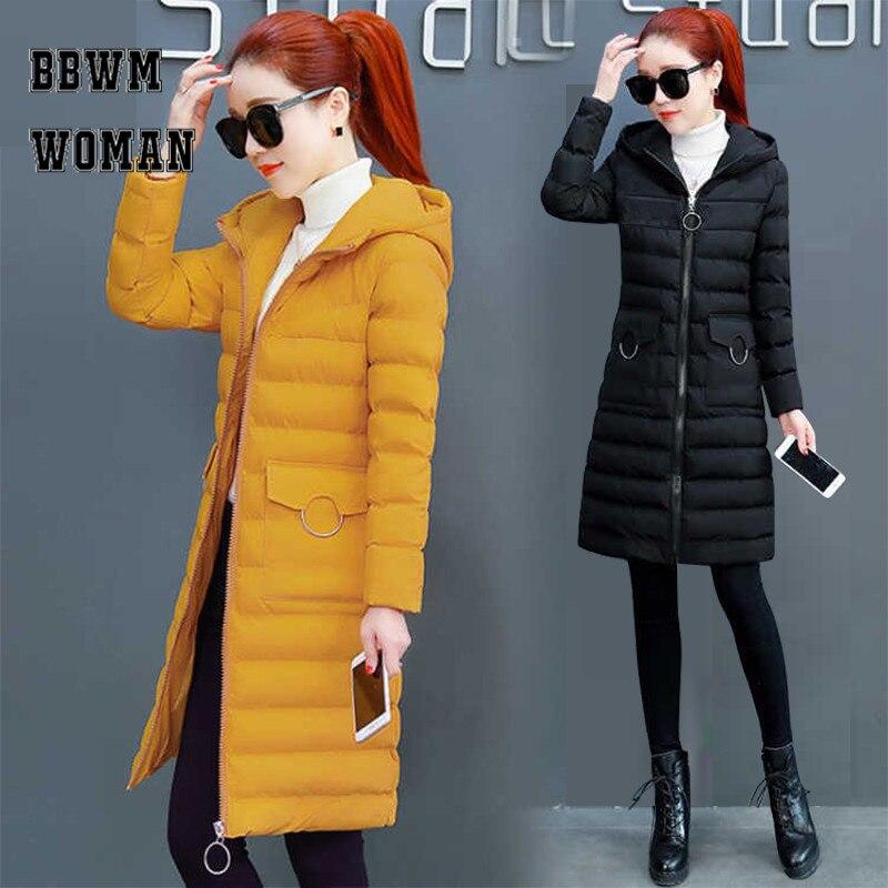Slim Korean Hooded Cotton Long Women Jackets Warm Winter   Parkas   Pink Black Color Casual Pocket   Parka   Overcoat ZO858
