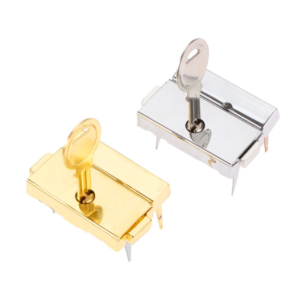 DRELD 33*25mm Box Hasps Zinc Alloy Lock Toggle Catch Latches for Jewelry Suitcase Buckle Clip Clasp Vintage Hardware Silver
