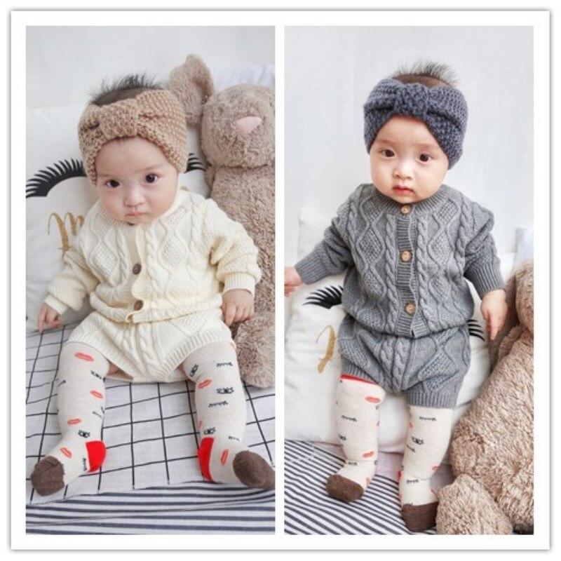 Mädchen Kleidung Sets Aus Reiner Baumwolle Strick Anzug Lange Ärmeln Jacke Shorts Zwei Stück Mädchen Kleidung Mädchen Kleidung Sets