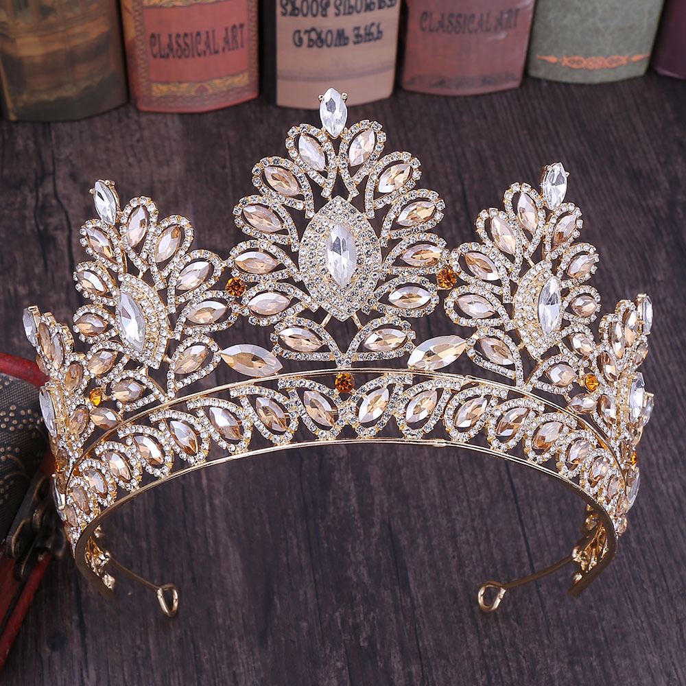 Image 3 - KMVEXO 2019 New Vintage Baroque Tiara Crowns Queen King Bride Pink Crystal Crown Pageant Bridal Wedding Hair Jewelry Accessories-in Hair Jewelry from Jewelry & Accessories