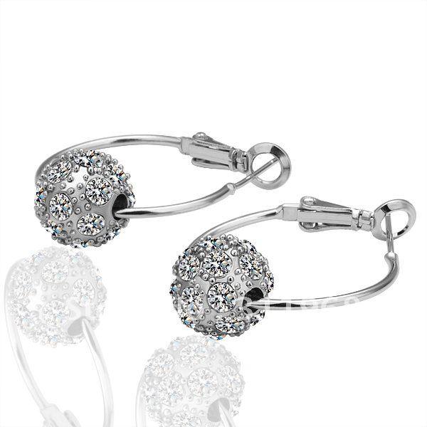 Whole Diamond Hoop Earrings Nice Earbob Earring Crystal Hip Hop K Gold Jewelry