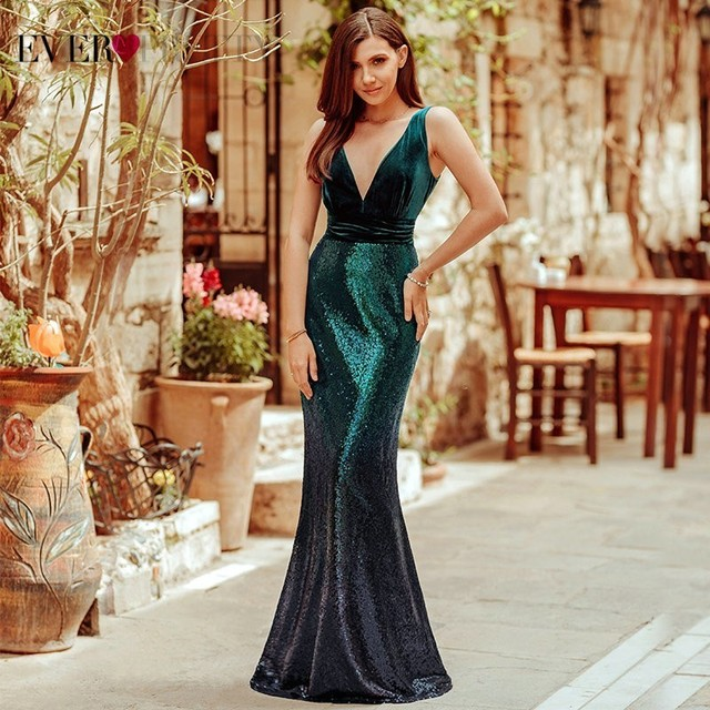 Plus Size Evening Dresses Long Ever Pretty Sexy V-Neck Sleeveless Sequined Burgundy Blush Pink Vintage Mermaid Party Gowns 4