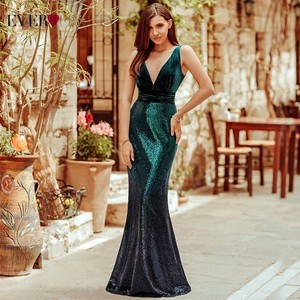 Image 5 - Plus Size Evening Dresses Long Ever Pretty Sexy V Neck Sleeveless Sequined Burgundy Blush Pink Vintage Mermaid Party Gowns