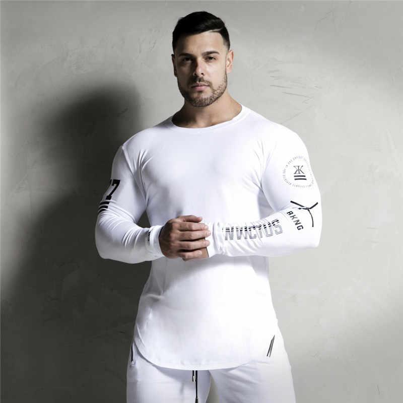 חדש אופנה גבוהה-גמישות ספורט חולצה גברים ארוך שרוול כושר T חולצה גברים של מוצק חדרי כושר פיתוח גוף ארוך חולצה טי
