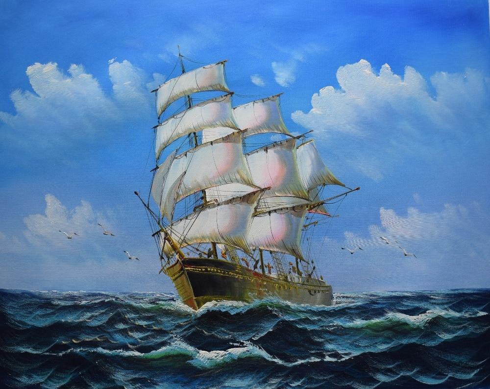 Wall Art Hand Painted Painting Sailing Ship Over Wavng