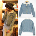Ssy winter denim outerwear women's denim cotton-padded jacket berber fleece liner wadded jacket denim coat 9823