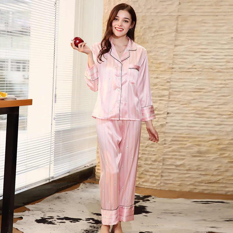 e3ff877019897 SSH0133 высокое качество атласные шелковые пижамы 2018 Новинка весны  длинные рукава брюки 2 шт. пижамный