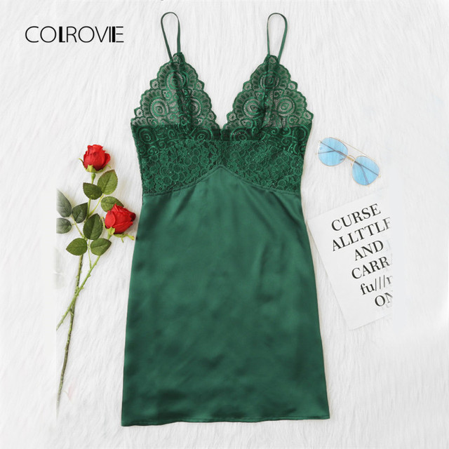 4fb9b4f5866 Scalloped Lace Sexy Nightdress Green Sheer Cami Nightgown Sleeveless  Lingerie Ladies Vintage Strap Nightgown