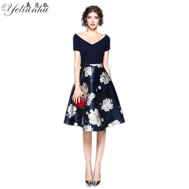 1c5617d557d29 YELIANHU Elegant Floral Print Short Dress Women V neck Polyester Sexy Dress  Female Summer Girls Work Dress Vestidos 2017 5JQ184