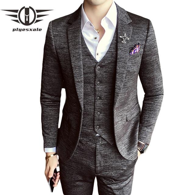 Plyesxale 2019 primavera otoño trajes para hombre novio de boda Boda de  traje Homme Slim Fit aa674a678a4