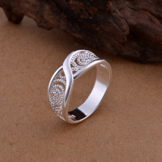 Gorgeous Rounded Hollow Shiny 925 Fashion Silver Plated Ring Engagemetn/Wedding Party Jewelry