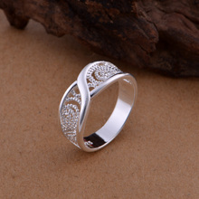 Gorgeous Rounded Hollow Shiny Ring Wholesale Price 925 Fashion Jewelry Silver Pl
