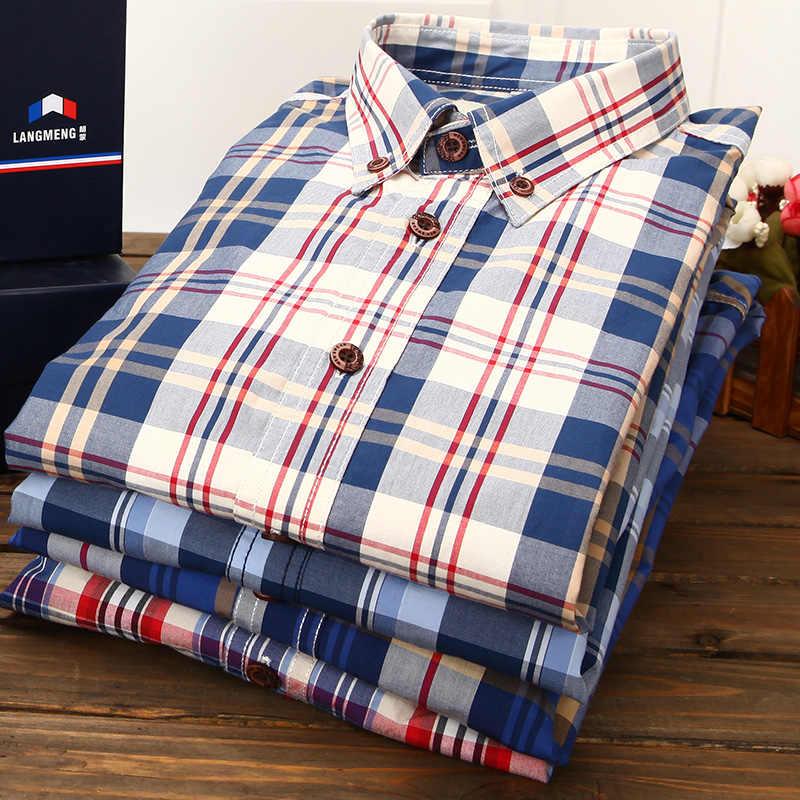 Langmeng Nuevo 2017 otoño primavera hombres plaid casual Camisas manga larga 100% algodón vestido camisa hombres estilo retro camisa masculina
