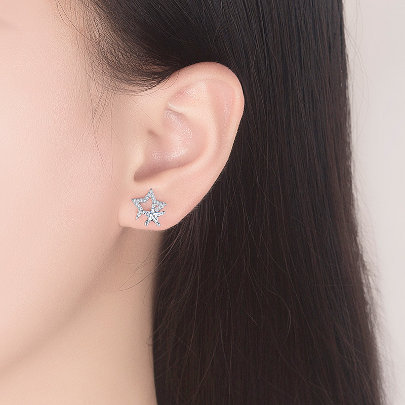 Promotion 925 sterling silver fashion shiny crystal star ladies stud earrings jewelry female gift Anti allergy drop shipping in Stud Earrings from Jewelry Accessories