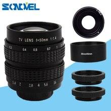 50mm CCTV lensler F1.4 TV film lens + metal Lens hood Sony E dağı NEX 6 NEX 5R NEX F3 NEX 7 a6000 A5000 5100 A3000