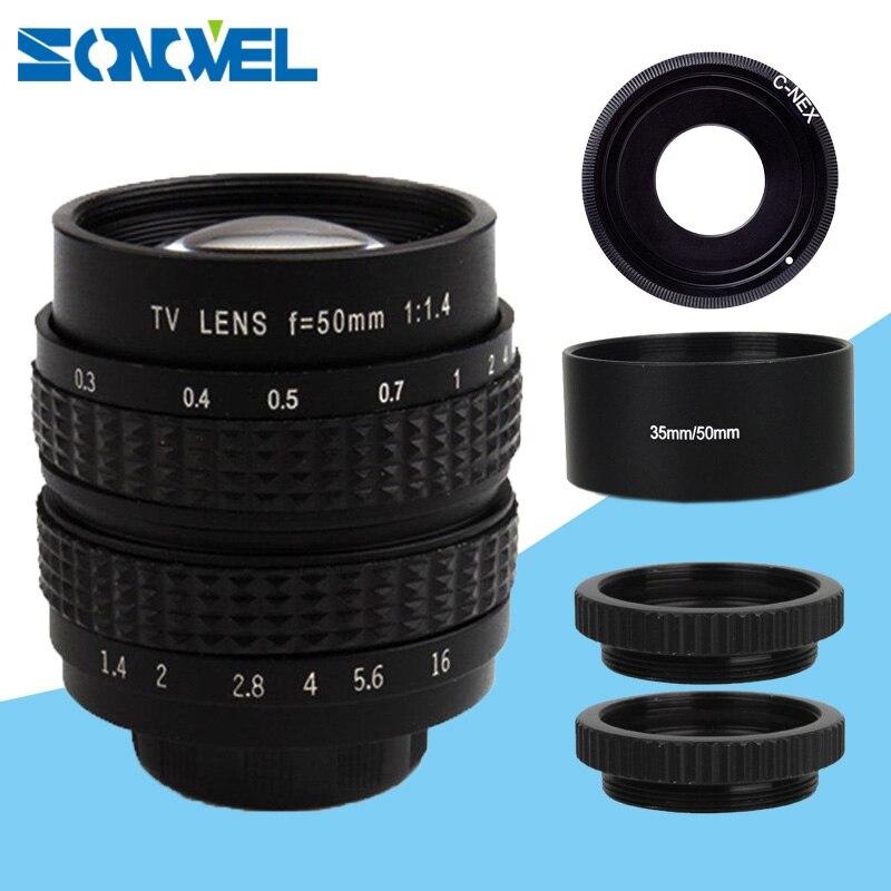 50mm CCTV lentilles F1.4 Téléfilm lentille + métal pare-soleil pour Monture Sony E NEX-6 NEX-5R NEX-F3 NEX-7 A6000 A5000 5100 A3000