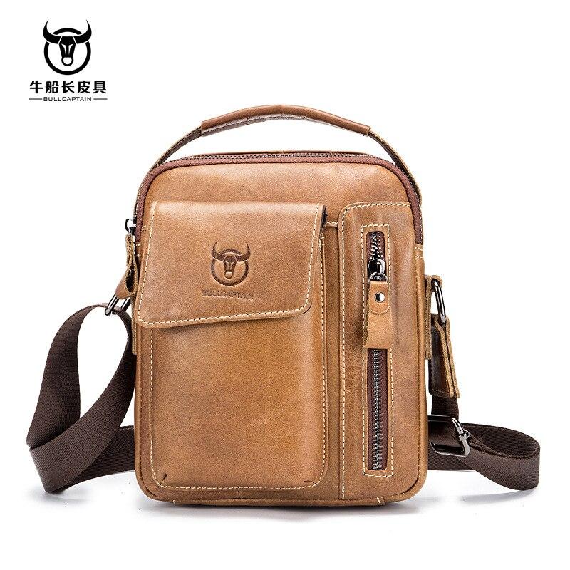BULLCAPTAIN Genuine Leather Men Shoulder Crossbody Bags Cow Leather Fashion Handbag Brand Casual Men's Messenger Bag Black 4