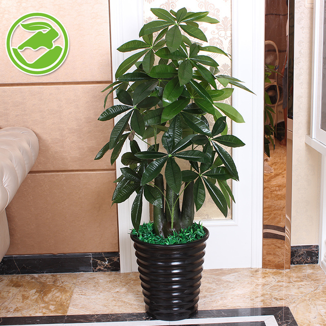 Fake Tree Stump Pachira Small Potted Plants Artificial View Living Room Floor Office Plastic