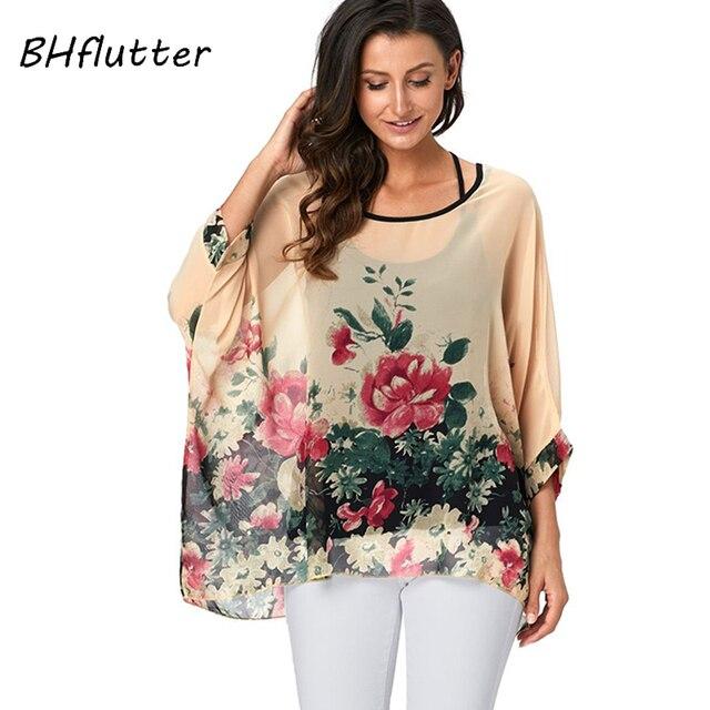 BHflutter 4XL 5XL 6XL Plus Size Blouse Shirt Women New Striped Print Summer Tops Tees Batwing Sleeve Casual Chiffon Blouses 2019 1