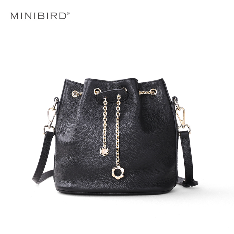 2017 Women Bucket Bags Lady Cowhide Genuine Leather Shoulder Strap Messenger Bags Female Simple Fashion Casual Chains Mini Bags genuine leather fashion women handbags bucket tote crossbody bags embossing flowers cowhide lady messenger shoulder bags